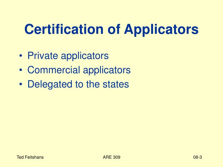 Certification of applicators