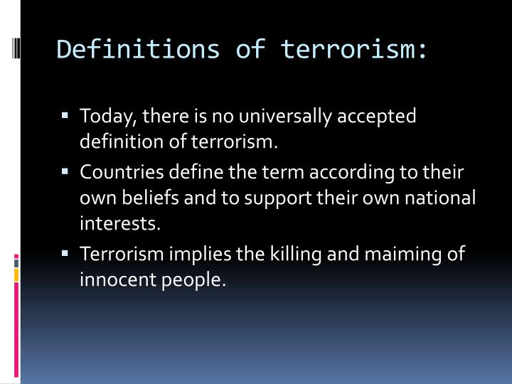 Definitions of terrorism: