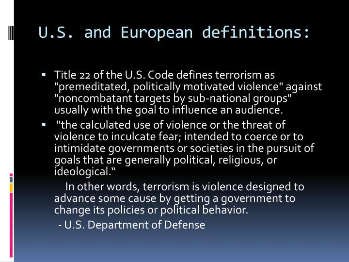 U.S. and European definitions: