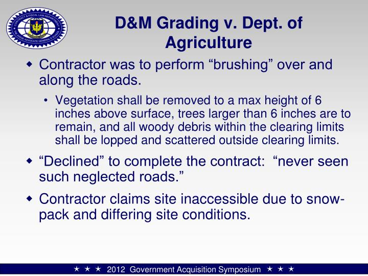 D&M Grading v. Dept. of Agriculture