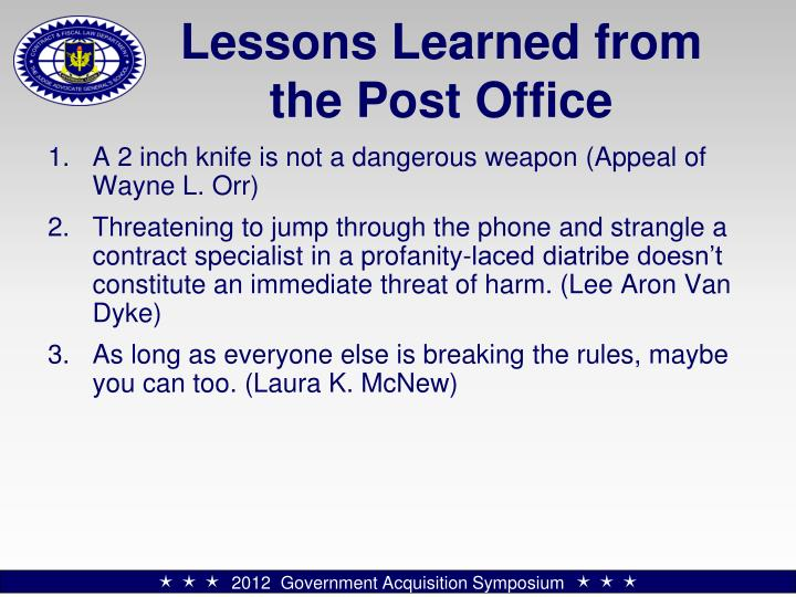 Lessons Learned from the Post Office