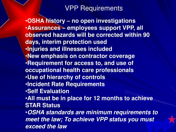 VPP Requirements