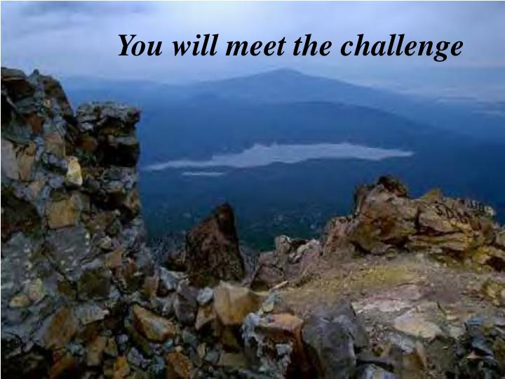 You will meet the challenge