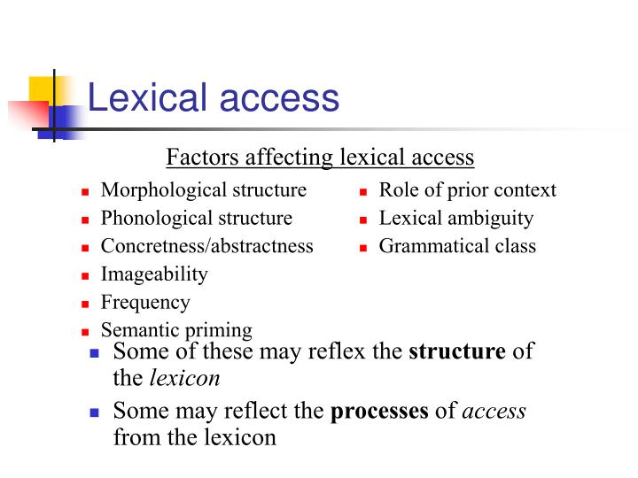 Lexical access