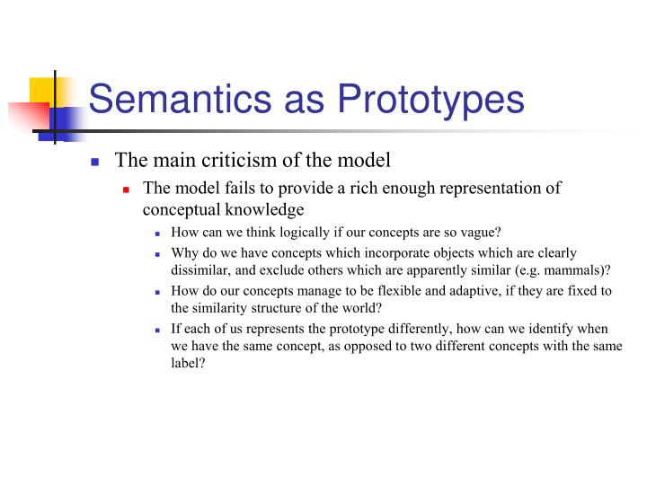 Semantics as Prototypes
