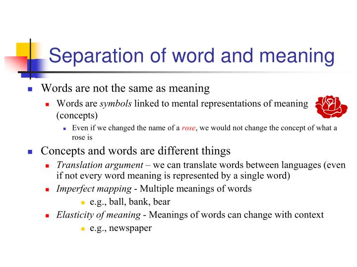 Separation of word and meaning
