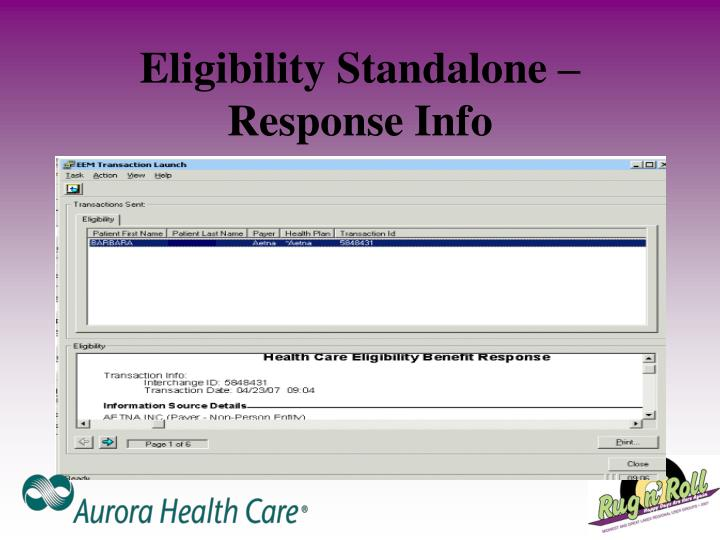 Eligibility Standalone – Response Info