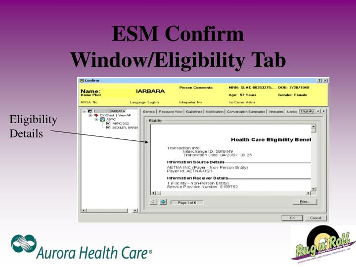 ESM Confirm Window/Eligibility Tab