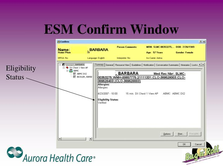 ESM Confirm Window