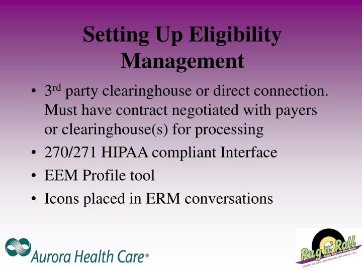 Setting Up Eligibility Management