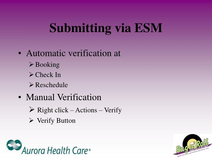 Submitting via ESM