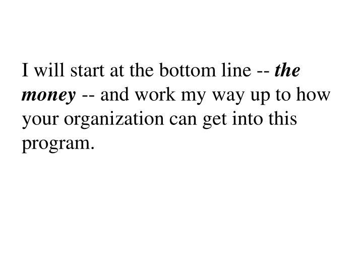 I will start at the bottom line --