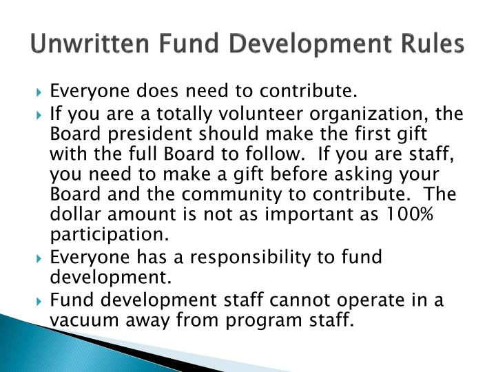 Unwritten Fund Development Rules