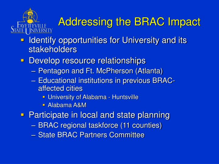 Addressing the BRAC Impact