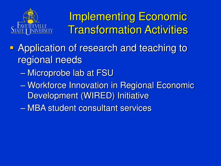 Implementing Economic Transformation Activities