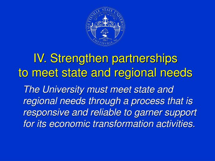 IV. Strengthen partnerships