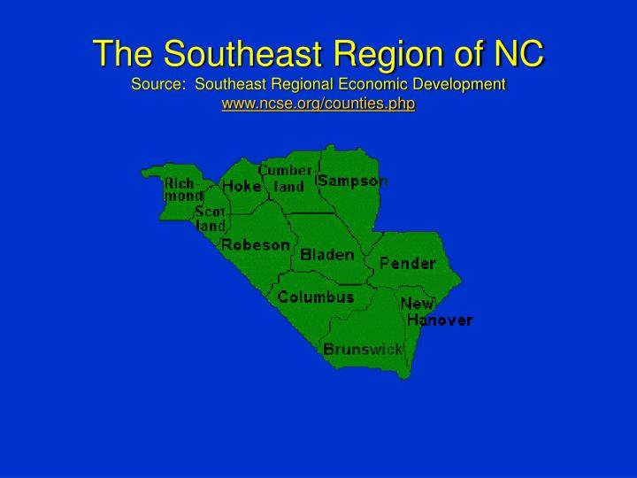 The Southeast Region of NC