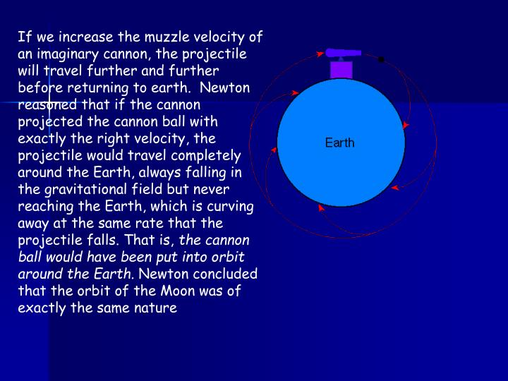 If we increase the muzzle velocity of an imaginary cannon, the projectile will travel further and further before returning to earth.  Newton reasoned that if the cannon projected the cannon ball with exactly the right velocity, the projectile would travel completely around the Earth, always falling in the gravitational field but never reaching the Earth, which is curving away at the same rate that the projectile falls. That is,