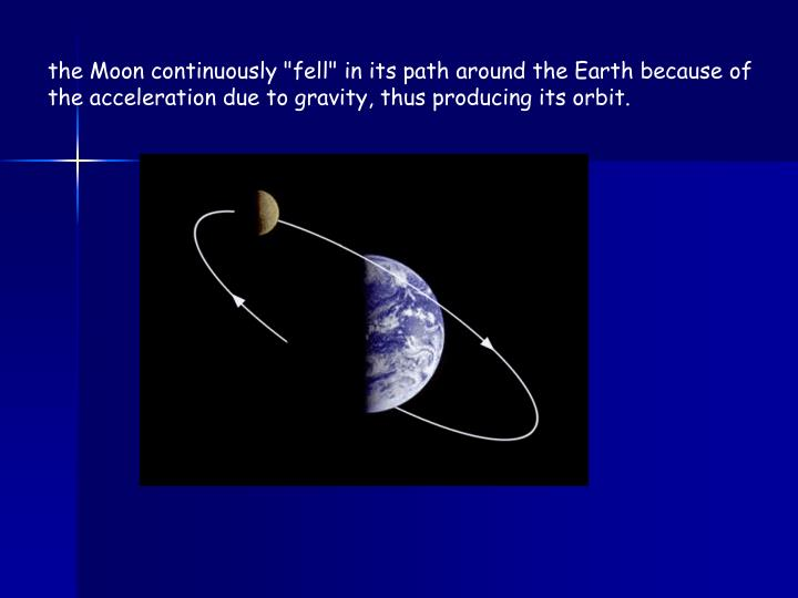 "the Moon continuously ""fell"" in its path around the Earth because of the acceleration due to gravity, thus producing its orbit."