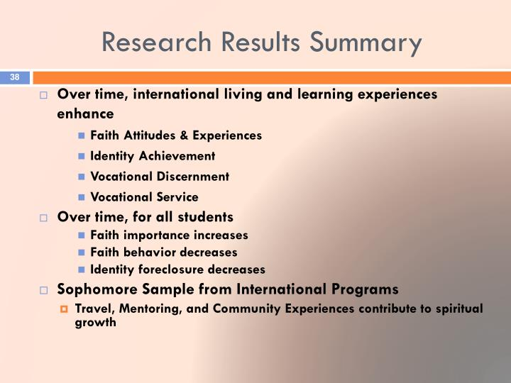 Research Results Summary
