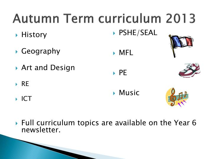 Autumn Term curriculum 2013
