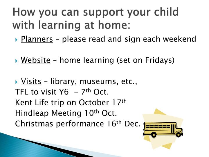 How you can support your child with learning at home: