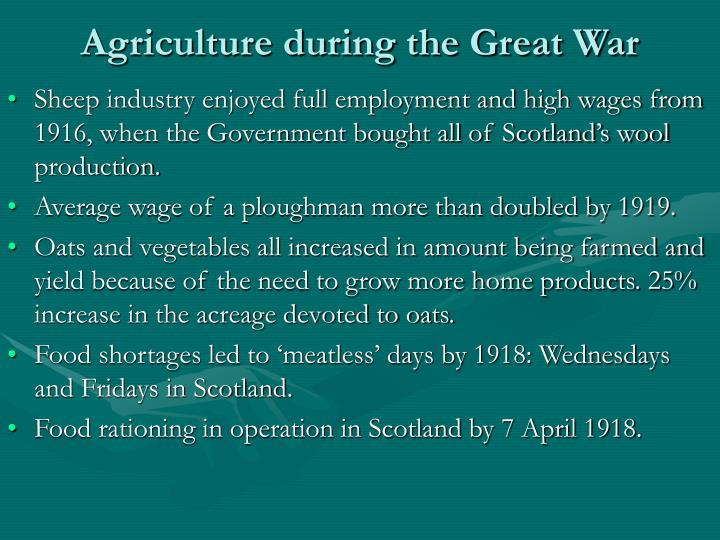 Agriculture during the great war1