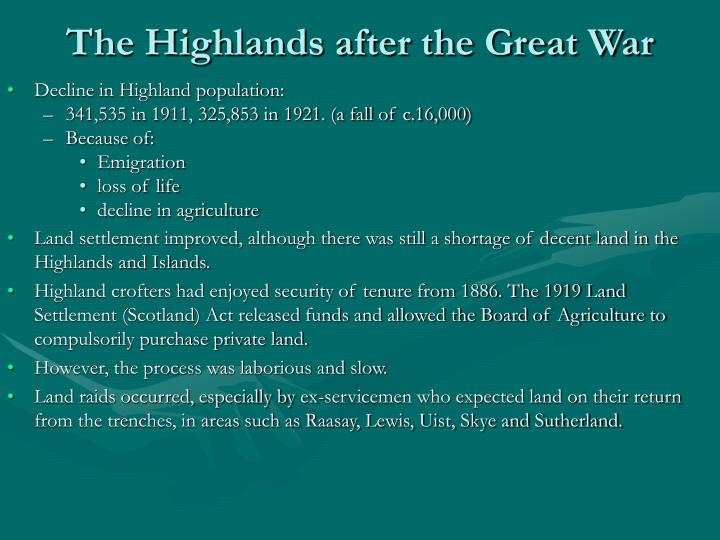 The Highlands after the Great War