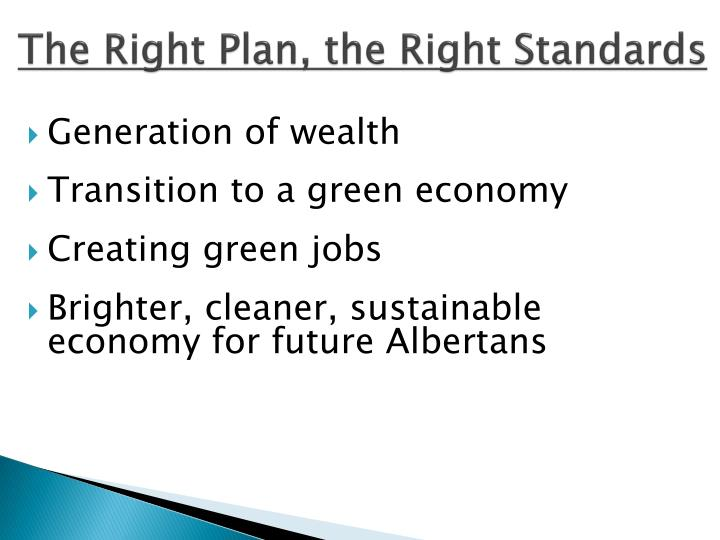 The Right Plan, the Right Standards