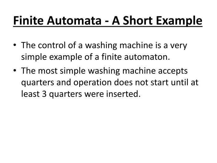 Finite Automata - A Short Example