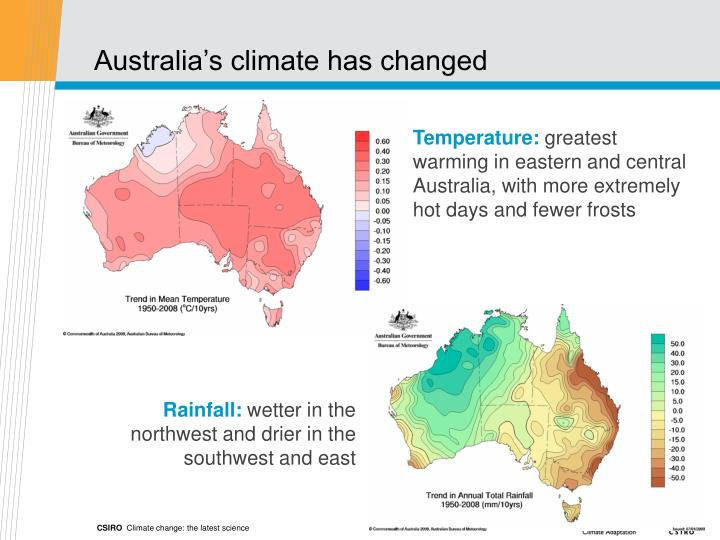 Australia's climate has changed