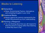 blocks to listening