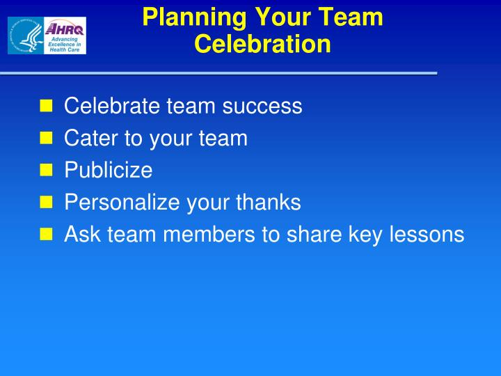 Planning Your Team Celebration
