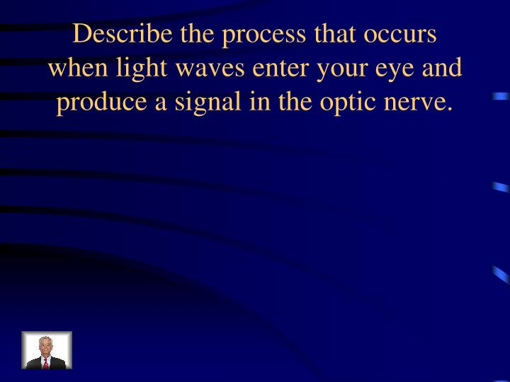 Describe the process that occurs when light waves enter your eye and produce a signal in the optic nerve.