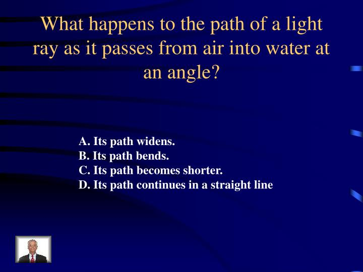 What happens to the path of a light ray as it passes from air into water at an angle?