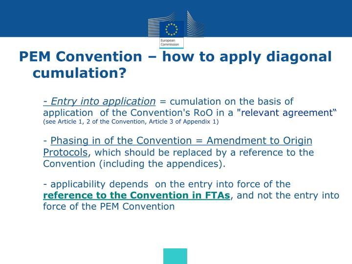 PEM Convention – how to apply diagonal cumulation?