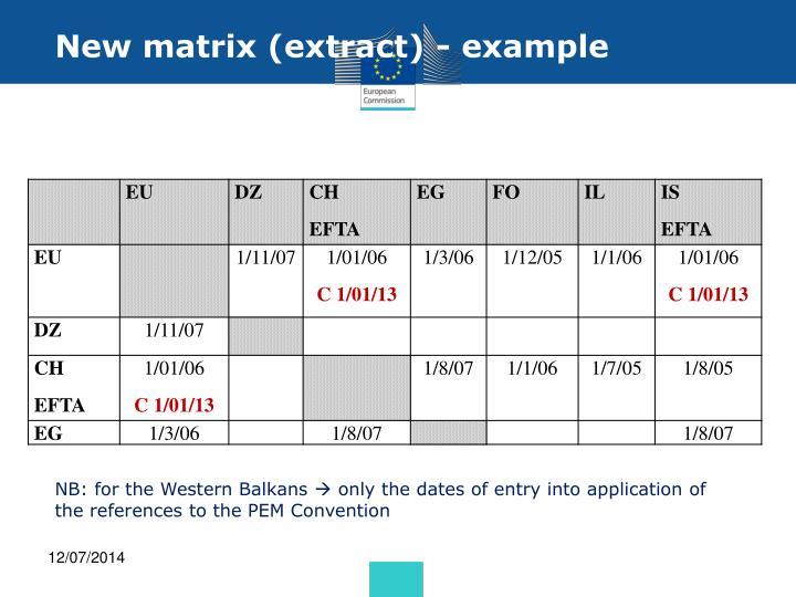 New matrix (extract) - example