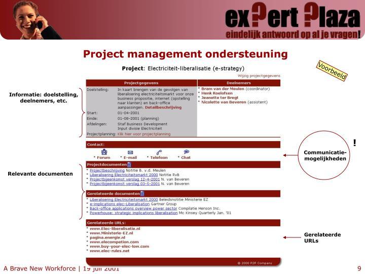 Project management ondersteuning