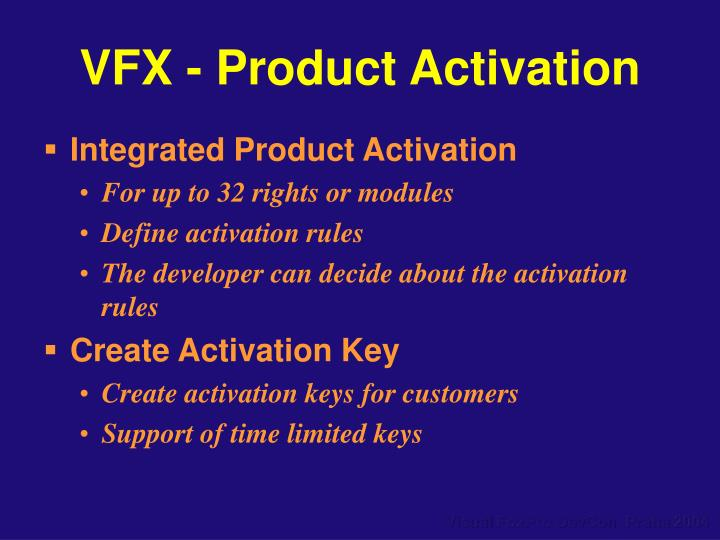 VFX - Product Activation