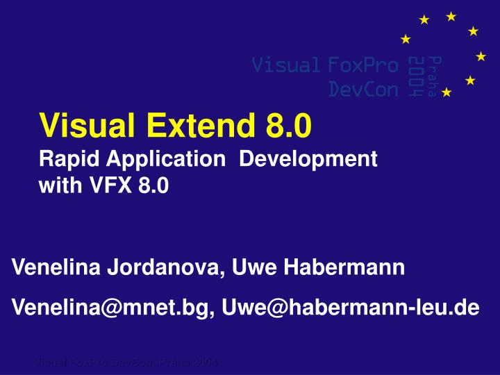 Visual extend 8 0 rapid application development with vfx 8 0