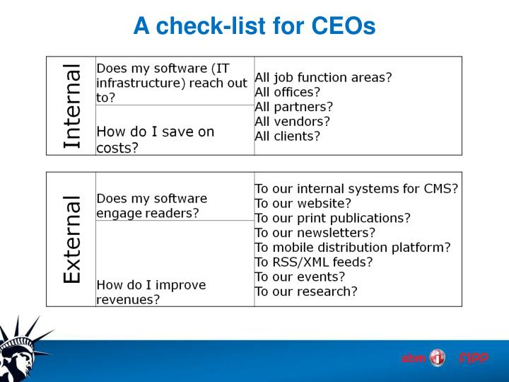 A check-list for CEOs