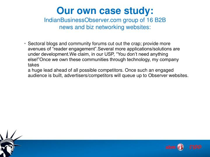 Our own case study:
