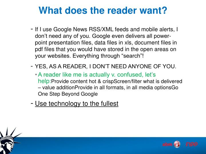 What does the reader want?