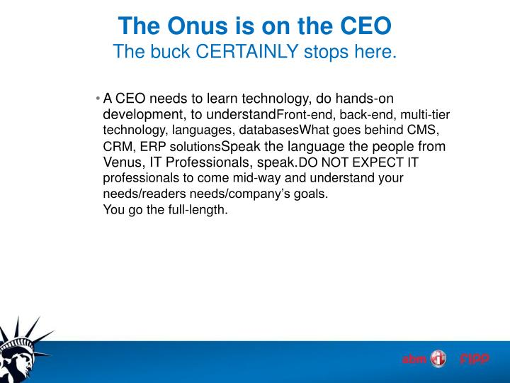The Onus is on the CEO