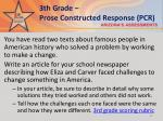 3th grade prose constructed response pcr