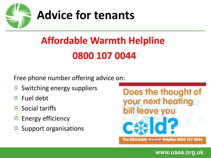 Advice for tenants