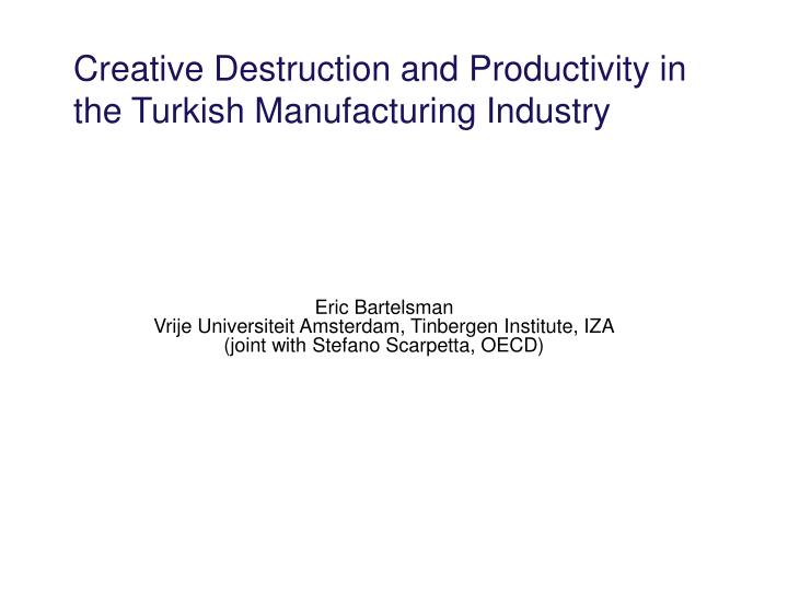Creative Destruction and Productivity in the Turkish Manufacturing Industry