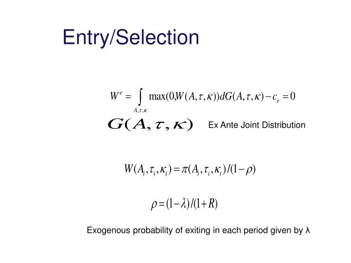 Entry/Selection