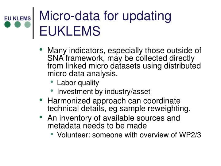 Micro-data for updating EUKLEMS