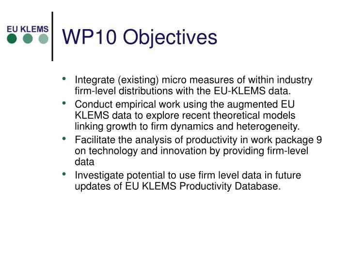WP10 Objectives